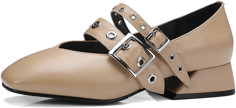 Nine Seven Genuine Leather Women's Square Toe Chunky Heel Handmade Comfort Mary Janes shoes