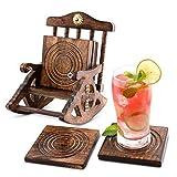 6er -Set handgefertigter Getränke-Untersetzer aus Holz: umweltfreundlich, saugfähig, mit antiker Optik. (Rocking Chair Coaster)