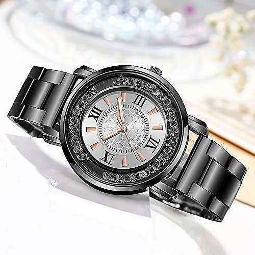 Relojes Relojes para Mujer, Relojes De Pulsera De Diamantes De Moda De Lujo De Primeras Marcas, Relojes De Pulsera De Acero Inoxidable con Correa De Malla Plateada, Reloj De Cuarzo Femenino BK