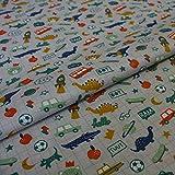 Hans-Textil-Shop - Tela por metros, diseño infantil de cocodrilo, monopatín, dinosaurio, fútbol, gato, perro, coche, tienda de algodón, 1 metro, sin sustancias nocivas, decoración, para niños