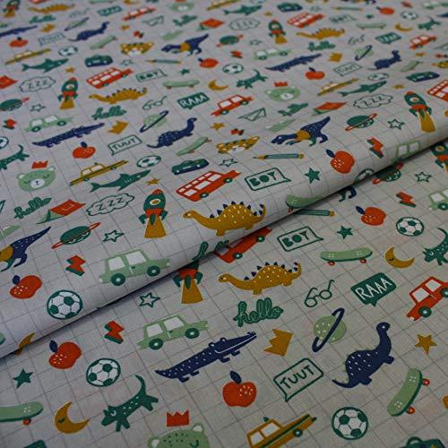 Hans Textiel-Shop stof per meter kindermotieven krokodil skateboard dino voetbal kat hond auto tent katoen - 1 meter, getest op schadelijke stoffen decoratie, voor kinderen grijs