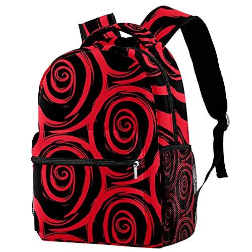 Leisure Campus - Mochilas de viaje con acuarela, pintadas a mano, color rojo y negro, con soporte para botellas para niñas y niños