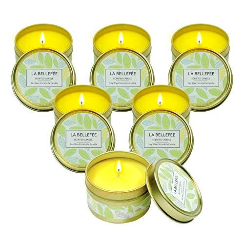 LA BELLEFÉE Citronella Kerzen Mückenschutz Zitronengras Duftkerzen im Glas Aromatherapie 100% natürliche Sojawachs für Innen und Draussen (6 x 95 g)