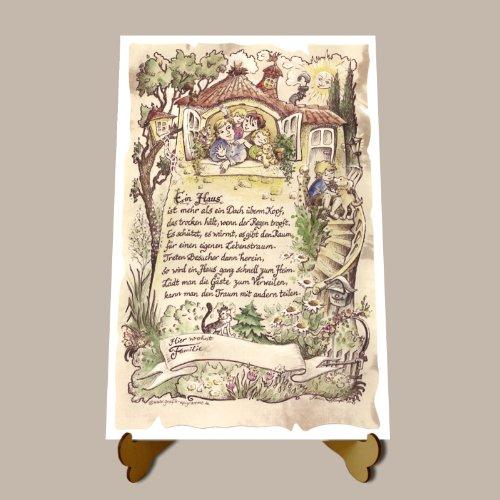 Die Staffelei Geschenk Haus Einzug Zeichnung Color 30 x 21 cm mit Aufsteller