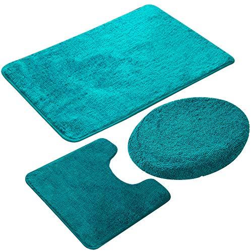 Jian Ya Na 3-teiliges Badezimmerteppich-Set, rutschfeste Mikrofaser, zottelig, weich, Badematte, Konturbadematte, Toilettensitzbezug, Polypropylen, grün, 50 x 80 cm