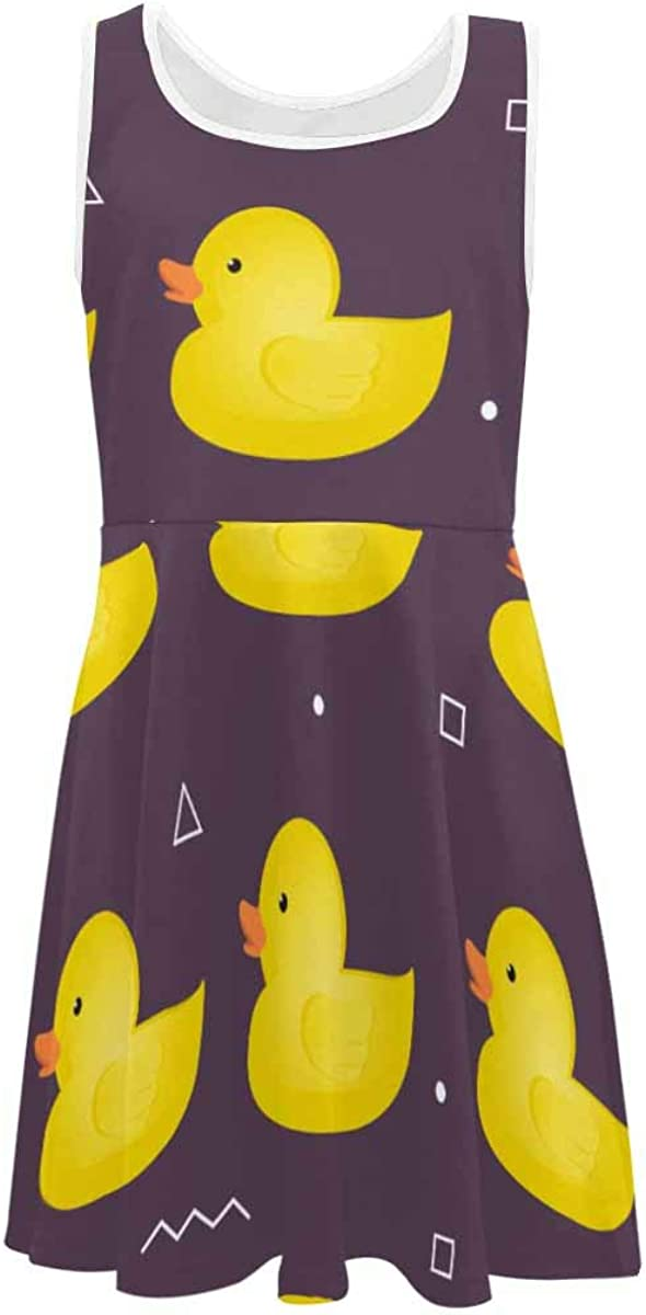 InterestPrint Girls Sleeveless Dress Summer Clothes Beach Outfits Yellow Rubber Duck Swimming (2T-XL)