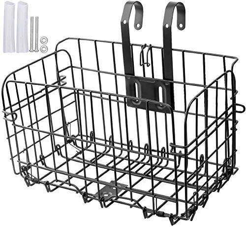 HNBun Detachable Folding Bicycle Basket, Rear Bike Basket Rust Proof Metal Wire Bicycle Basket Front Quick Release Basket, Lift Off Folding Bike Basket for Pet, Shopping, Commuter and Outdoorg, Black