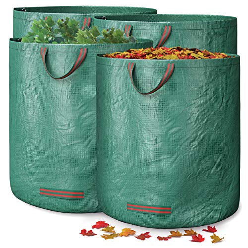 GardenGloss® 4X Sacchi Giardinaggio con Maniglie – 272L Ad Alta Capacità e Doppio Fondo – Stabile Ai Raggi UV e Idrorepellente – Sacco per Rifiuti riutilizzabili e stabili