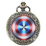 Reloj de bolsillo marca Designer Inspirations Boutique® con cadena y carcasa en acabado plateado pulido, estilo retro/vintage, diseño escudo de Capitán América (cadena 80 cm)