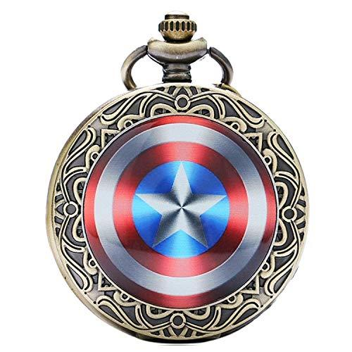 Captain America Shield bronzo effetto anticato/vintage di uomo orologio da tasca al quarzo collana–Catena da 81,3cm pollici/80cm