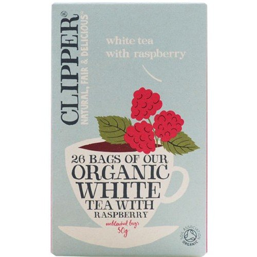 (6 PACK) - Clipper - Organic White Tea Raspberry | 26 Bag | 6 PACK BUNDLE