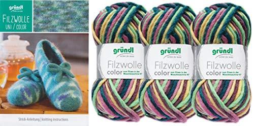 3x50 Gramm Gründl Filzwolle Color Wolle SB-Pack Wollset inkl. Anleitung für gestreifte Filzhausschuhe mit 2 Strasssteine zum aufnähen (44 Pastel Bunt)