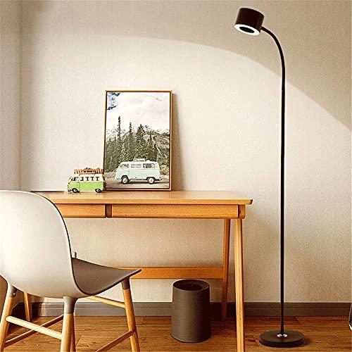 RenXin LED Lámpara de Pie con Mando a Distancia Regulable Luz de Lectura, Luz de Pie Salon con Interruptor y Enchufe, 360° Cuello de Cisne Flexible, 10W Lámpara de Suelo para Sala Dormitorio,Negro