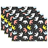 zzzswbl Place Mats Colorful Elephant Dot Bar De Café Lavable Bodas Set De 6 Vacaciones Bastante Interior Colorido Home Home Esteras De Mesa Decorativas Set De Manteles Individuales Vivid