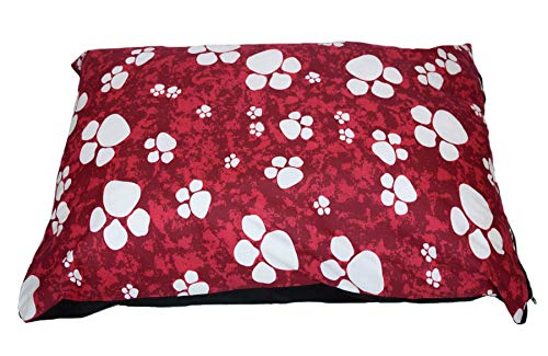SleepyNights Large Pet Dog Bed Zipped Removable Cover & Washable Cushion - Pawprints Red