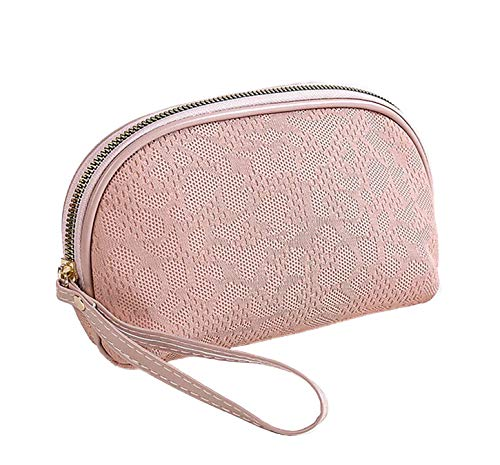 LEUCHTBOX Kleine Kosmetiktasche Damen Kulturtasche Schminktasche Make-Up Bag Fashion Chic Ajourmuster Strickstoff Optik (Rosa)