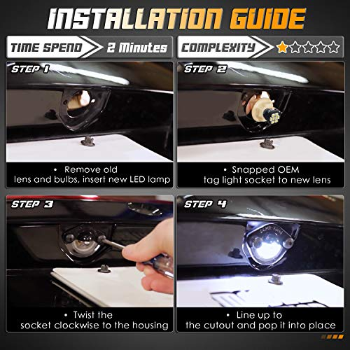 HERCOO LED License Plate Light Lamp Lens White Bulbs Black Housing Compatible with 1994 to 2004 Ford Mustang Pickup Truck Rear Step Bumper, Pack of 2