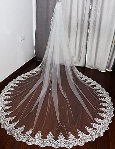 HUIJK Veil Shine Sequins Lace Cathedral Wedding Veil with Comb White Ivory Bridal Veil Wedding Accessories Bridal Accessories (Color : Ivory, Item Length : 300cm)