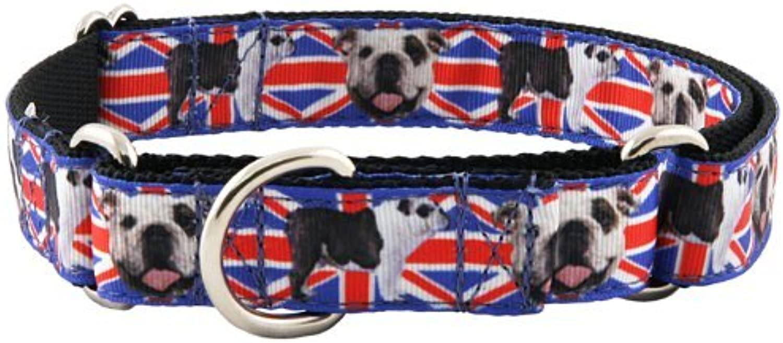 Country Brook Design English Bulldog Union Jack Ribbon Martingale Dog Collar  Large