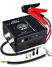 JF.EGWO 4000Amp Car Jump Starter with Air Compressor, 12V Safe Lithium Auto Battery Booster (up to 10.0+L Gas and 10.0+L Diesel Engine), 150 PSI Air Pump, Built-in 2 USB Ports and 2 LED Light