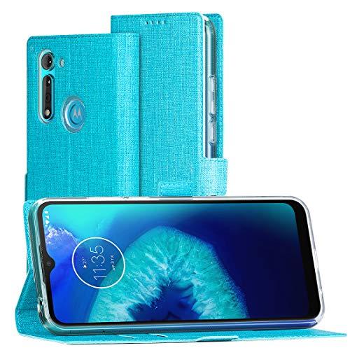 FUNMAX+ Moto G8 Power Lite Hülle, PU Leder Handyhülle mit 2 Kartenfächer, Schutzhülle Hülle Tasche Magnetverschluss Flip Cover Stoßfest für Motorola Moto G8 Power Lite (Blau)