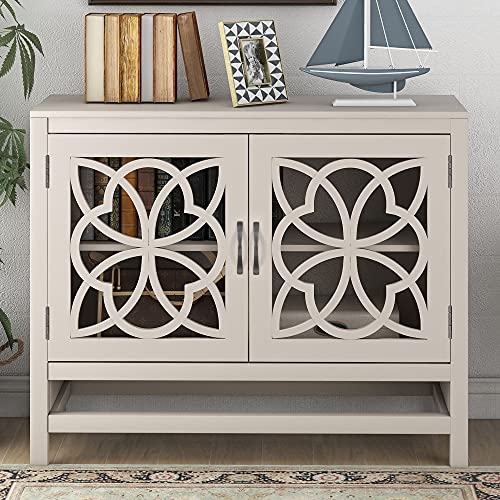 Wood Accent Buffet Sideboard Serving Storage Cabinet with Doors and Adjustable Shelf, Modern Console Table Sofa Table for Entryway/Kitchen Dining Room/Living Room (Cream White + MDF)