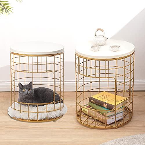 ROBOTIME Juego de 2 mesas de café con almacenamiento para sala de estar, mesa auxiliar de metal con color dorado para dormitorio, sofá mesa de té