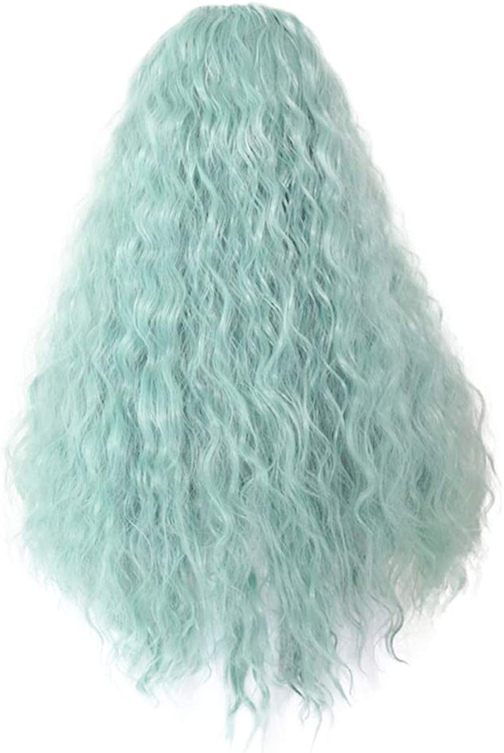 Wig Lady, green small wavy hair, density 150%, suitable for everyday costumes and role play on the party.
