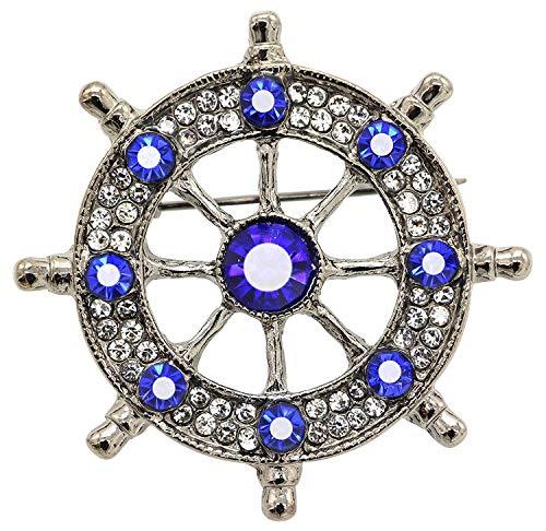 Collar de Moda para Mujer Broches de la Vendimia Neutra Marinero Azul Marino de la aleación Linda timón de Viento de Anclaje de Cristal Broche de Tono Negro Izar