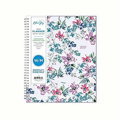 """Blue Sky 2021 Weekly & Monthly Planner, Flexible Cover, Twin-Wire Binding, 8.5"""" x 11"""", Laila (125889)"""