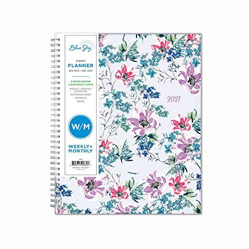 Blue Sky 2021 Weekly & Monthly Planner, Flexible Cover, Twin-Wire Binding,...