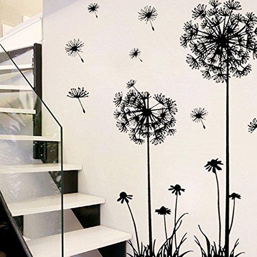 Diente de León Pegatinas de pared vinilo adhesivo decorativo para las niñas habitación de niño Wall Stickers salón dormitorio TV fondo Inicio 60x90cm, Sencillo Vida