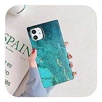 Yokkg 大理石のテクスチャスクエア電話ケースiPhone12 11Pro Max XR XS Max 7 8 Plus X SE 2020 iPhone 1111Pro用耐衝撃バックカバー-T5-For iPhone 11