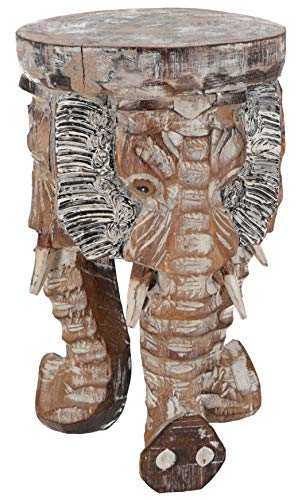 Guru-Shop Blumenhocker, Dreibeiniger Beistelltisch, Dekoobjekt Elefanten Kopf - Hell 30 cm, Braun, Dekoobjekte
