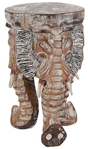 Guru-Shop Bloemkrukje, Driepotig Bijzettafeltje, Decoratief Object Olifantenkopje - Licht 30 cm, Bruin, Decoratieve Objecten