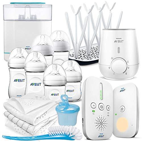 Philips AVENT 15 Teile Baby Set - Babyphone, Flaschenwärmer, Sterilisator, Babyflaschen, Mullwindeln und Zubehör