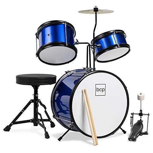 Best Choice Products Kids Beginner 3-Piece Drum Set, Junior Size Musical Instrument Practice Kit w/ Sticks, Cushioned Stool, Cymbal, 2 Toms, Bass, Drum Pedal - Blue