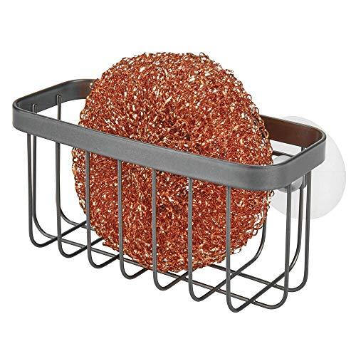 mDesign Organizador de fregadero con ventosas – Práctica cesta de rejilla para estropajos y bayetas – Portaestropajos de metal para la cocina – gris