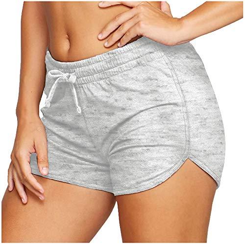 ayaso Pantalones cortos de deporte para mujer, ajustados, para entrenamiento, jogging, yoga, pantalones cortos de cintura alta, pantalones cortos de deporte de cintura alta gris-A S