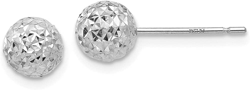 FB Jewels Solid 14K White Gold 6mm Ball Post Earrings