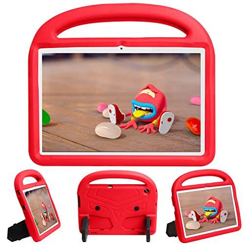 QYiD Funda Infantil para Huawei MediaPad T5 10 2018, Funda Protectora a Prueba de Golpes con Mango Ligero, Carcasa para niño para Huawei MediaPad T5 10.1 Pulgadas Tablet, Rojo