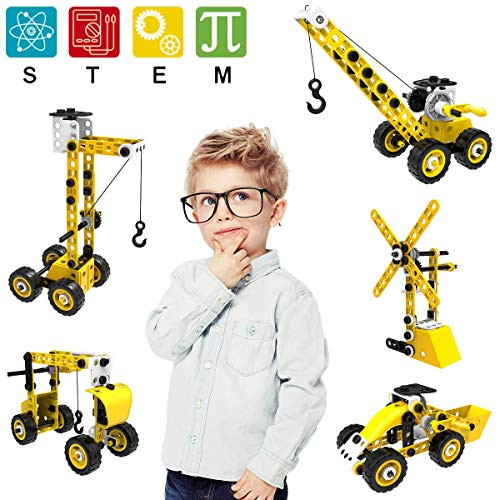 Pakoo STEM Toys Building Toys,8 in 1 Construction Toys for 5 6 7 8 9 10 + Year Old Boys&Girls,100 Pieces STEM Building Blocks with Screwdriver Wrench Tool,Creative Engineering Toys for Kids