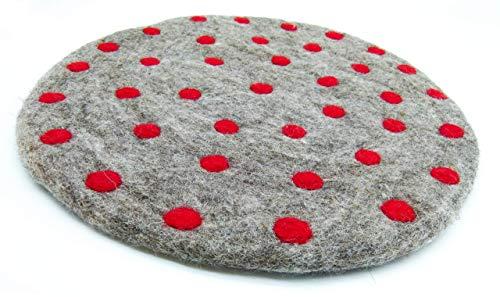 feelz - Sitzkissen aus Wolle gefilzt rund mit Punkten bunt farbenfroh rot beere weiß blau grün - Fairtrade