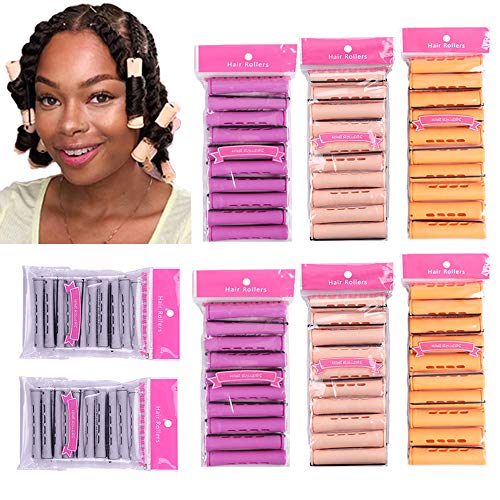 80pcs Perm Rods Jmbo Large Medium Small Size Curler Perm Rods for Natural Hair Cold Wave Rods Hair Curler Styling Tools for Curly Wavy Hair(Orange,Beige,Gray,Purple)