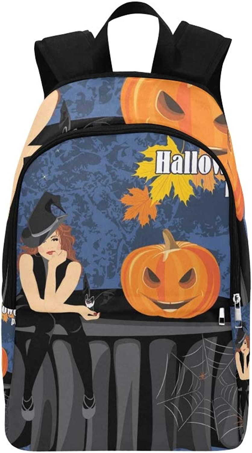 Halloween Witch Bat Pumpkin Sitting On Casual Daypack Travel Bag College School Backpack for Mens and Women