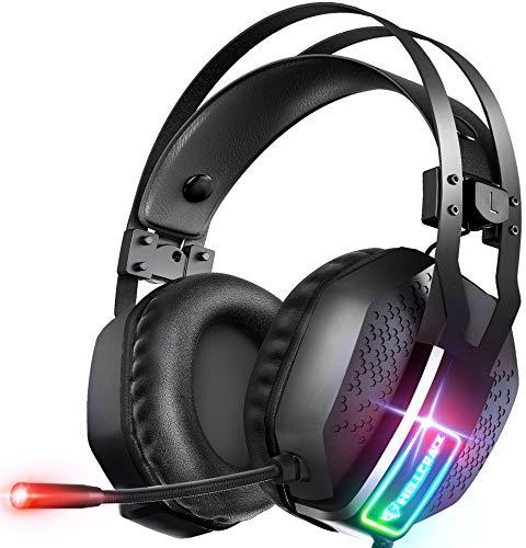 Mifanstech Gaming Headset für Xbox One, Gaming Headphones RGB Gaming Headset Stereo Geräuschunterdrückung Gaming Kopfhörer mit 3.5mm für PC PS4 PS5 Nintendo Switch Playstation Laptop Tablet