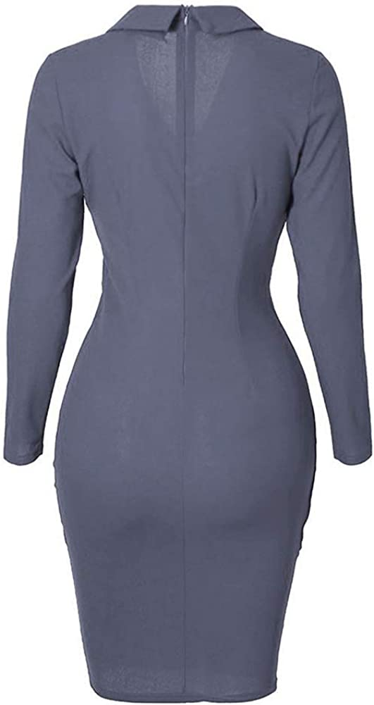 Womens Office Work Dress Ladies Solid Colour Elegant Long Sleeve Wrap Pleated Bodycon Dresses