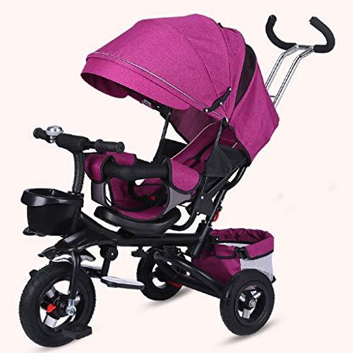GCXLFJ Triciclo Bebe Infantil 4 En 1 Plegable Triciclo,1-6 Años De Edad Niño Rojo Sombrilla Triciclo Diseño De Freno Trasero,Ajustable con Asa Triciclo,3 Colores (Color : Rosso)