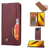 TOPOFU Hülle für Xiaomi Poco X3 NFC LederHülle,Premium Flip Wallet Schutzhülle mit [Ständer] [Kartenfächer] [Magnetverschluss],PU/TPU Retro Design Handytasche Handyhülle,Braun