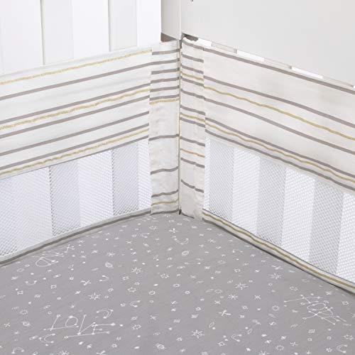 ED Ellen DeGeneres Starry Night - Grey, White, Metallic Gold Multi Stripes Secure-Me Crib Liner, Grey, White, Gold